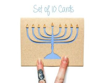 Hanukkah Card Set of 10: Menorah Cards--Laser Cut card set