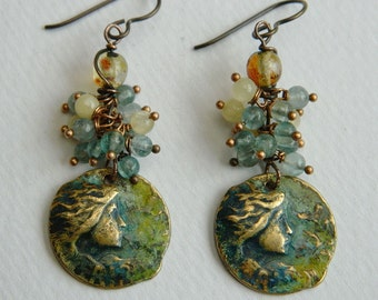 Victorian, Pre Raphaelite style ,Romantic  Earrings,Apatite,Hypo allergenic Niobium ear wire,Faceted yellow Jade,Verdigris earrings