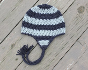 Navy and Gray Striped Earflap Hat, Baby Boy Crochet Hat, Toddler Boy Crochet Hat