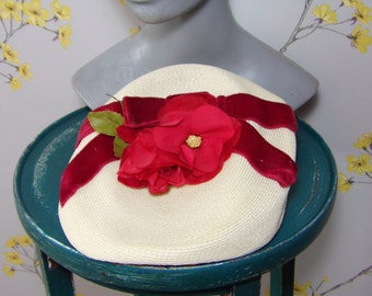 1950s Fascinator Hat Cocktail Hat Velvet Bow Roses Strawberries and Cream Tilt Hat