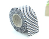 3.5 cm Cotton Bias by the roll - Checkered in Navy Chocolate - 10 Yards 82172