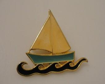 "enamel sailboat pin 1 7/8""x 1.75"""