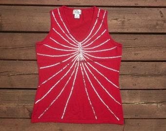 Vintage 90s Red Sequin Starburst V Neck Sweater Vest Medium