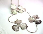 Shop Closing, 40 inch Silver Leaf Necklace, 3 Leaves, textured silver necklace
