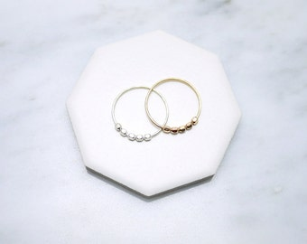 Facet bead rings - stacking rings - beaded hammered - sterling silver and gold - dainty minimal