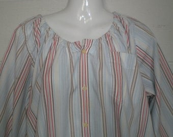 Peasant Blouse upcycled from a men's shirt,  58 inch, xxL, orange and blue pinstripe