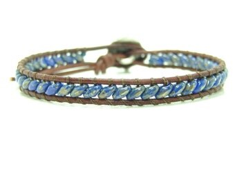 Super Duo Beaded Leather Wrap Bracelet, Single Wrap, Boho, Dark Blue Superduo Leather Wrap Bracelet, Southwestern Style Leather Wrap