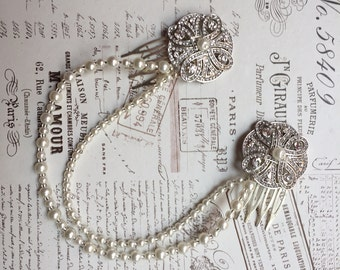 Hair chain - Art Deco Headpiece - Bridal hair jewellery - 1920's Dress - Bridal headpiece