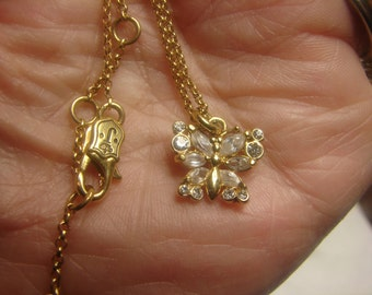 Retired Designer Necklace CZ Butterfly 1442