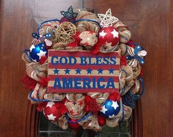 God Bless America Burlap and Mesh Wreath