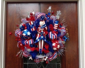 Saluting Uncle San Royal Blue and Stripe Wreath