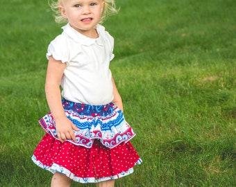 Back to School Skirt - Ruffle Skirt - Baby Bloomers - Red Bloomers - White Bloomers - Blue Bloomers - Nautical Bloomers - Anchor Bloomers
