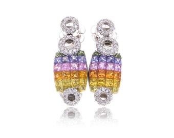 Multicolor Rainbow Sapphire & Diamond Fancy 18K Gold Earrings (7.09ct tw) SKU: 11299 + B10765