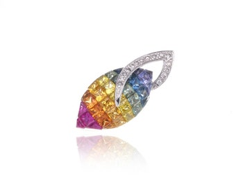 Multicolor Rainbow Sapphire & Diamond Pendant 14K or 18K Gold (3.07ct tw) SKU: 17804 + 9304 + 25470 + 17803 + 20924 + 25471