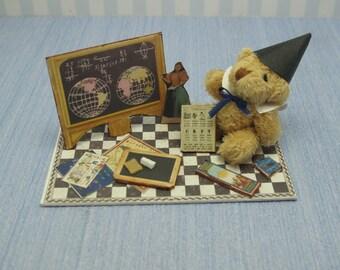 Gaël Miniature  Vintage Games carpet toys in rug  zone school scene teddy carpet Dollhouse Miniature child game Accessory toy, Handmade