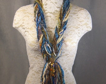 SKINNY STRING SCARF/Necklace for women in pretty Brown Blue Ivory - with added Bling Jewelry - Perfect for Valentine's Day - Novelty yarns
