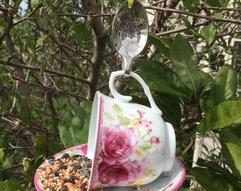 Teacup Bird Feeder with Hand Stamped Bent Spoon- BIRDIE BEST TEACHER- Perfect Teacher Gift