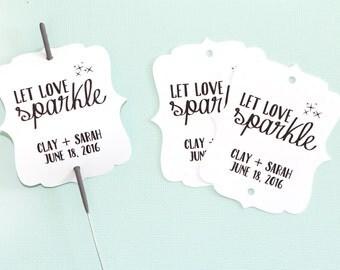 Let Love Sparkle - Sparkler Gift Tags - Black + White - Wedding Favors. Customizable Tags. Wedding Sparkler Tag. Custom Sparkler Tags.
