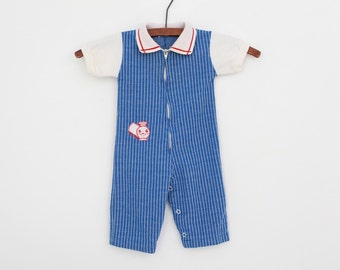Vintage Health Tex Train Theme Romper in Blue Pinstripes / 1970s / 6 months