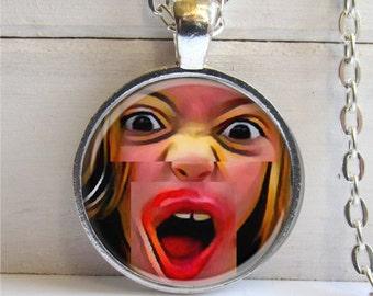 Pop Art Pendant, Alternative Jewelry, Crazy Excited Necklace,