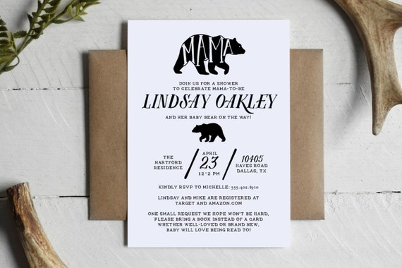 printable mama bear rustic baby shower invitation custom mama bear baby bear shower invite
