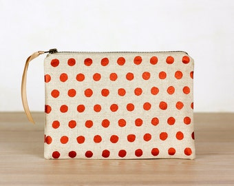 Copper spots on oatmeal - flat  pouch - screen printed and handmade