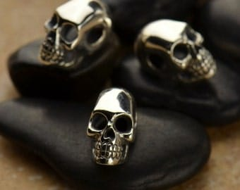 Sterling Silver Skull Bead with large hole