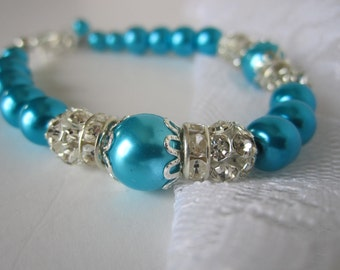 Aqua Bridesmaid Bracelet Aqua Wedding Maid of Honor Turquoise Bridesmaid Bridal Gift