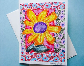 Flower Note Card, Yellow Flower, Yellow And Purple, Flower Greeting Card, Blank Note Card, Flower Art Card, by Paula DiLeo_11616
