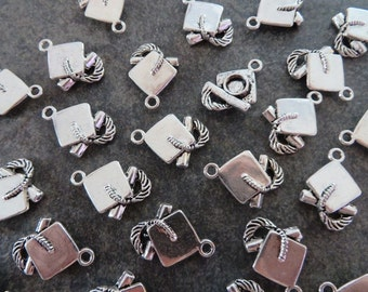 10 Graduation Cap and Diploma Charms Graduate Class of 2017 2018 Mortor Boards Silver Tone 17x16 mm