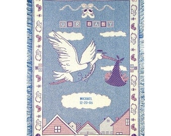 Customized Stork On The Way Cotton Throw