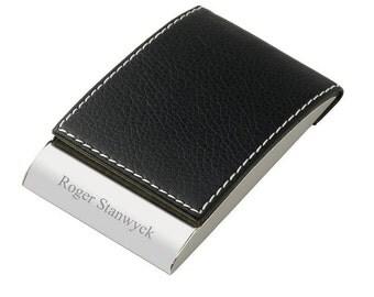 Engraved Vertical Leatherette Business Card Holder