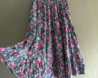 70s Laura Ashley Floral Print Midi Skirt with Elasticated Waist
