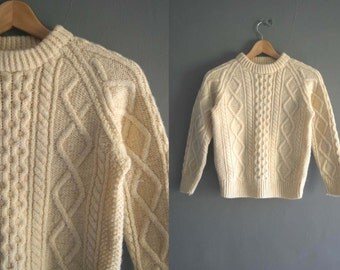 Hand Knitted Wool Aran Skinny Fit Jumper XXS