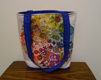 Quilted Tote Bag with Geometric Design -  Cruise Tote, Pool Tote, Library/Book Bag, Kntting and Crochet Craft Carry All, Coloring Book Tote