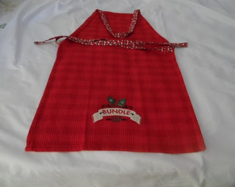 FREE SHIPPING -Red Tea Towel Apron for the Winter Season with Adjustable Snowman Fabric Straps and Mittens Printed at the bottom