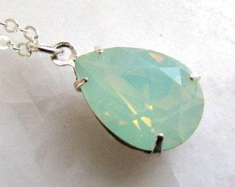 Chrysolite Opal Swarovski Crystal Necklace