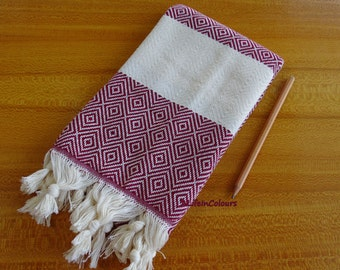 Turkish soft cotton burgundy diamond patterned hand and face towel, yoga neck towel, sport towel, cotton scarf.