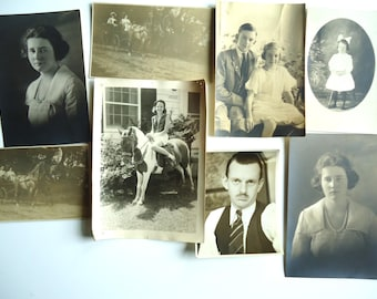 8 Vintage Antique Black and White Photographs from the Victorian Era Through 1940s People Men Children Pony Horses Women