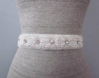 Modern Pearl Rhinestone & Silver Beaded Bridal Wedding Sash / Belt, Art Deco Sash