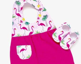 Flamingo Bib and Shoes Gift Set, Washcloth Baby Bib, Baby Girl Shoes, Size 0-6 mos. Shoes, Baby Bib, Baby Girl Gift, Ready to Ship