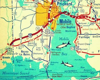 Alabama Gifts Alabama Map Print ALABAMA Coast, Mobile Map, Mobile Bay 12x12 20x20 1960s aqua red turquoise Alabama wall art