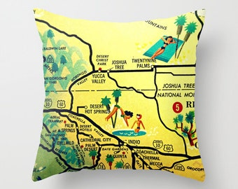 Palm Springs Map Pillow Cover, Modernism Week, Palm Springs California Throw Pillow,  Mid Century Modern Pillow, California Map Pillow