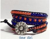 Gator Leather Wrap Bracelet -  Gator Bracelet - University of Florida colors - Crystal Faceted Beads- Black Leather - UF Gator Girl