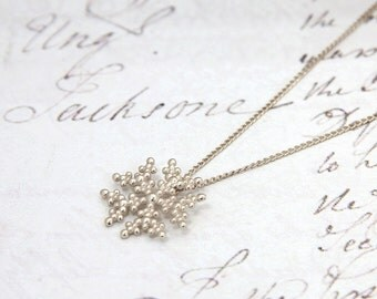 Dainty Silver Necklace - Snowflake Pendant - Delicate Sterling Silver Necklace - Silver Pendant