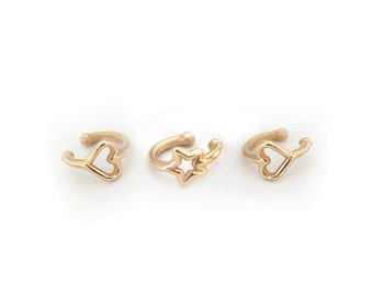 Ear Cuff earrings, delicate ear cuff, Heart and star ear cuff set, delicate ear cuff earrings gold, cute ear cuffs gold ear cuff non pierced