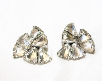 Vintage Eisenberg Rhinestone Earrings, Vintage Clip On Earrings, Bridal Wedding, 1950s Estate Jewelry