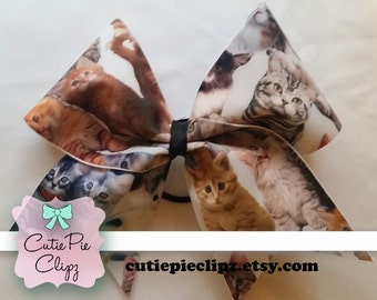 Cat and Kitten Printed Cheer Bow