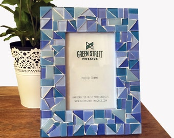 Blue Mosaic Picture Frame, 4 x 6 or 5 x 7 Photo Frame, Baby Boy Nursery Decor, Baby Shower Gift