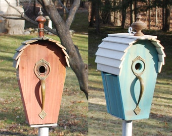 Large Roundtop Birdhouse with Big Brass Doorpull Perch and Wooden Slat Roof Topped with Old Clock Finial